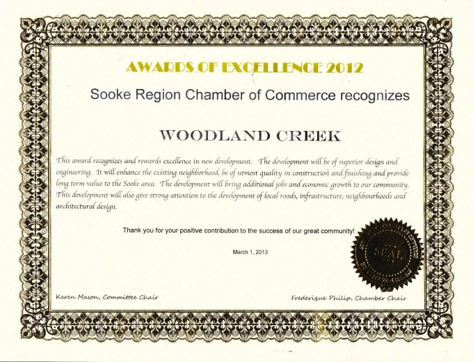 Development Excellence Award from the Sooke Region Chamber of Commerce.